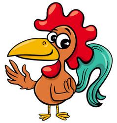 Comic rooster farm animal cartoon character vector