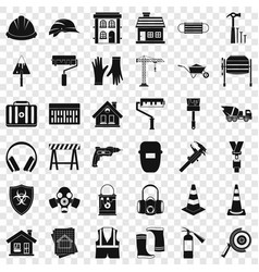 construction industry icons set simple style vector image