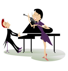 Couple musicians play music on violin and piano vector
