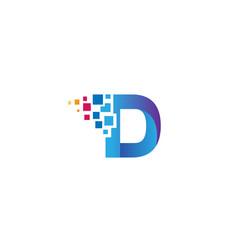 creative d letter pixel logo design symbol vector image