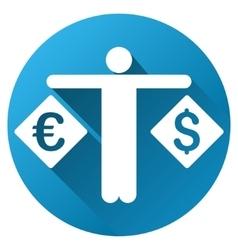 Currency compare person gradient round icon vector