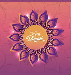 diwali festival with flower mandala decoration vector image