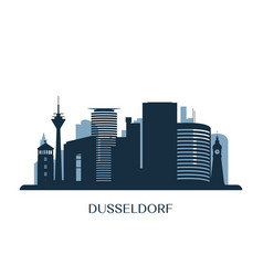 dusseldorf skyline monochrome silhouette vector image