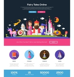 Fairy tales website header banner with webdesign vector