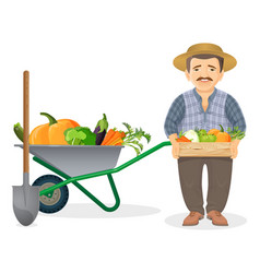 Farmer with harvest in metal cart and wooden box vector