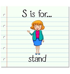 Flashcard letter S is for stand vector image