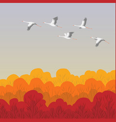 Flying white storks vector