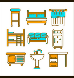 furniture pieces colorful graphic set isolated on vector image