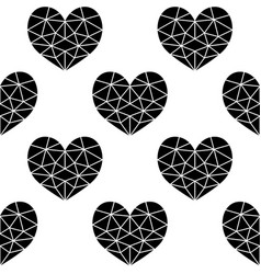 geometric black cubic heart seamless pattern vector image