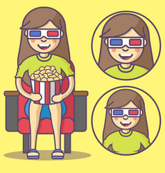 girl in 3d glasses and with pop corn vector image