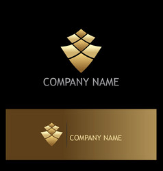 gold abstract square business logo vector image