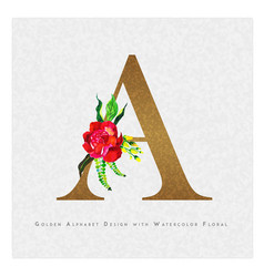 Golden letter a watercolor floral background vector