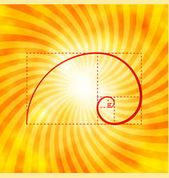Golden ratio figure on textured sunray background vector