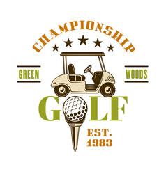 Golf cart emblem for sport championship vector