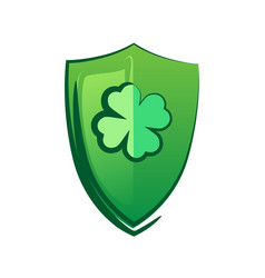 green shield with lucky clover - celtic symbol for vector image