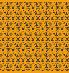 halloween orange festive seamless pattern vector image