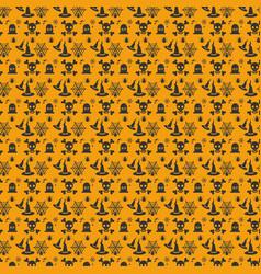 Halloween orange festive seamless pattern vector