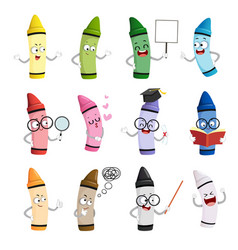 Happy cartoon crayon colors mascot vector