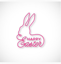 happy easter linear lettering vector image