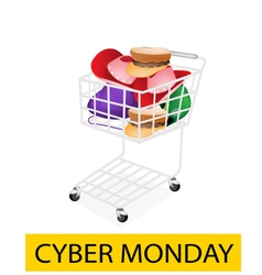 Hats and Helmet in Cyber Monday Shopping Cart vector image