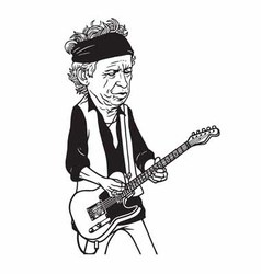 Keith richards the rolling stones cartoon vector