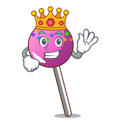 King lollipop with sprinkles mascot cartoon vector