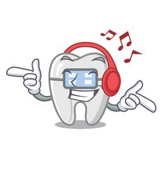 Listening music braces in a cartoon shape vector