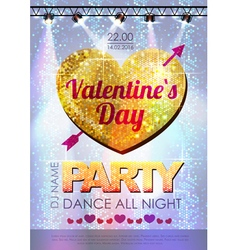 Love heart background Valentine party poster vector