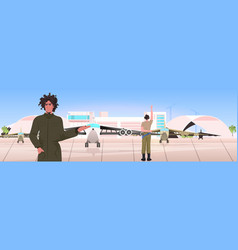 man pilot in uniform pointing at plane airport vector image