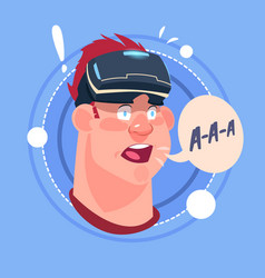 Man screaming male emoji wearing 3d virtual vector