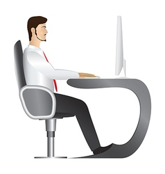 Man working at computer vector image