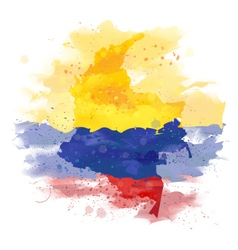Map of Colombia Watercolor paint vector