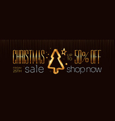 merrry christmas sale horizontal banner design vector image