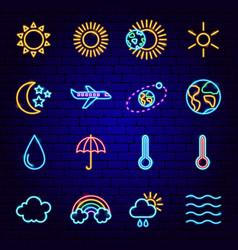Metcast neon icons vector