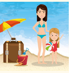 mother with daughter on the beach vector image