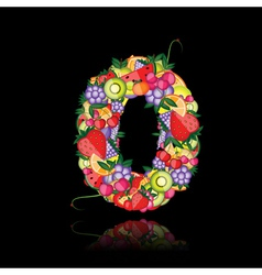 Number zero made from fruits vector