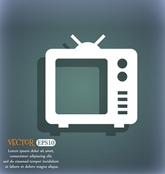 Old TV Television icon On the blue-green abstract vector