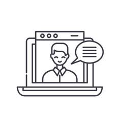online video course line icon concept online vector image