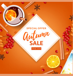 Orange background for autumn seasonal sale vector
