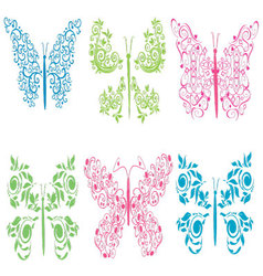 ornament colored butterflies vector image vector image