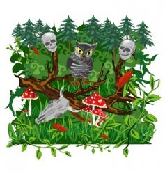 Owl in the woods vector