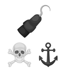 Pirate sea robber monochrome icons in set vector