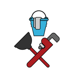 plumber service emblem plumber and logo cleaning vector image