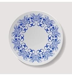 Realistic Plate Closeup Porcelain vector