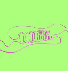 Ribbon font forms october vector