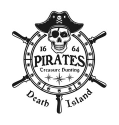 Rudder wheel with pirate skull emblem vector