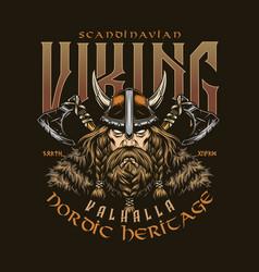 Scandinavian viking vintage colorful print vector