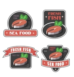 Seafood and fresh fish label or logo vector