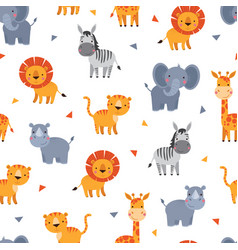 seamless jungle or zoo animal background pattern vector image