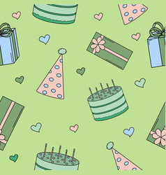 Seamless pattern with pictures for a birthday part vector